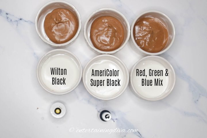 The set up for the black royal icing color test between food color brands