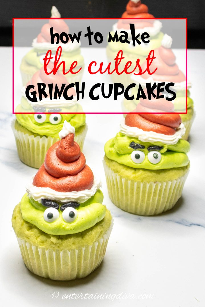 how to make the cutest Grinch cupcakes