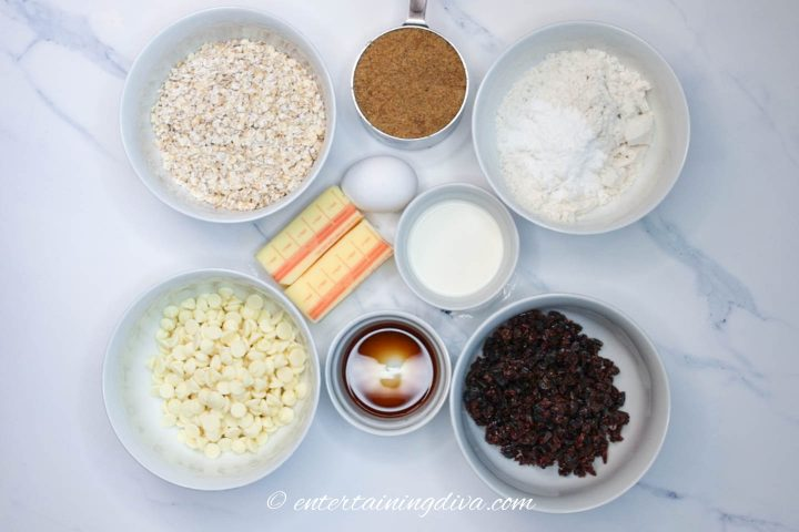 cranberry white chocolate oatmeal cookie ingredients