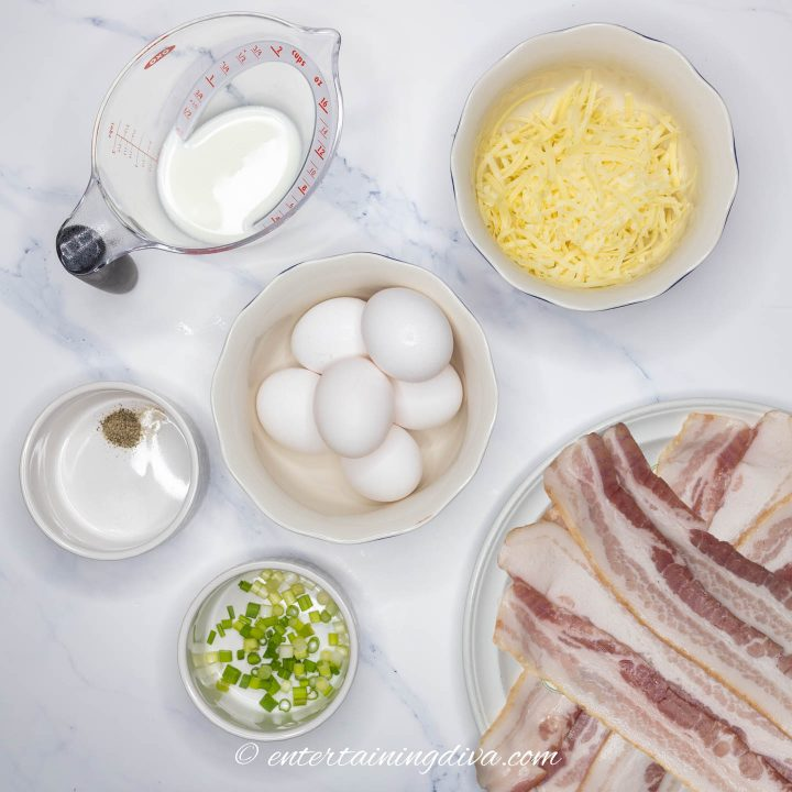 Crustless Quiche Lorraine ingredients