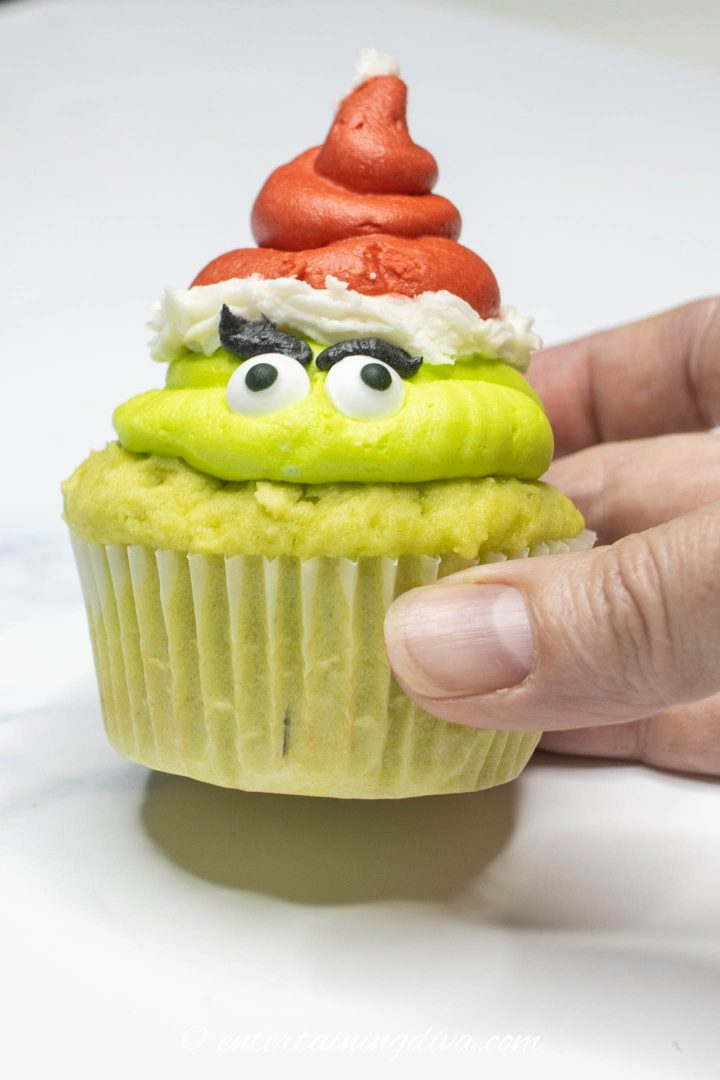 The Grinch cupcake with the pencil mark on the front to make sure the eyes are facing in the same direction as the heart