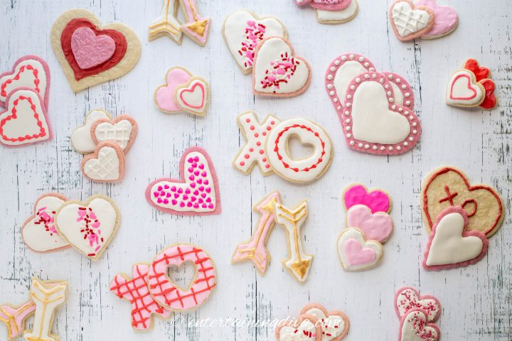 An assortment of decorated Valentine cookies