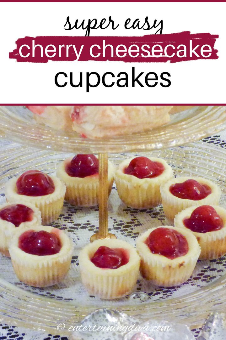 Cherry cheesecake cupcakes on a serving tray