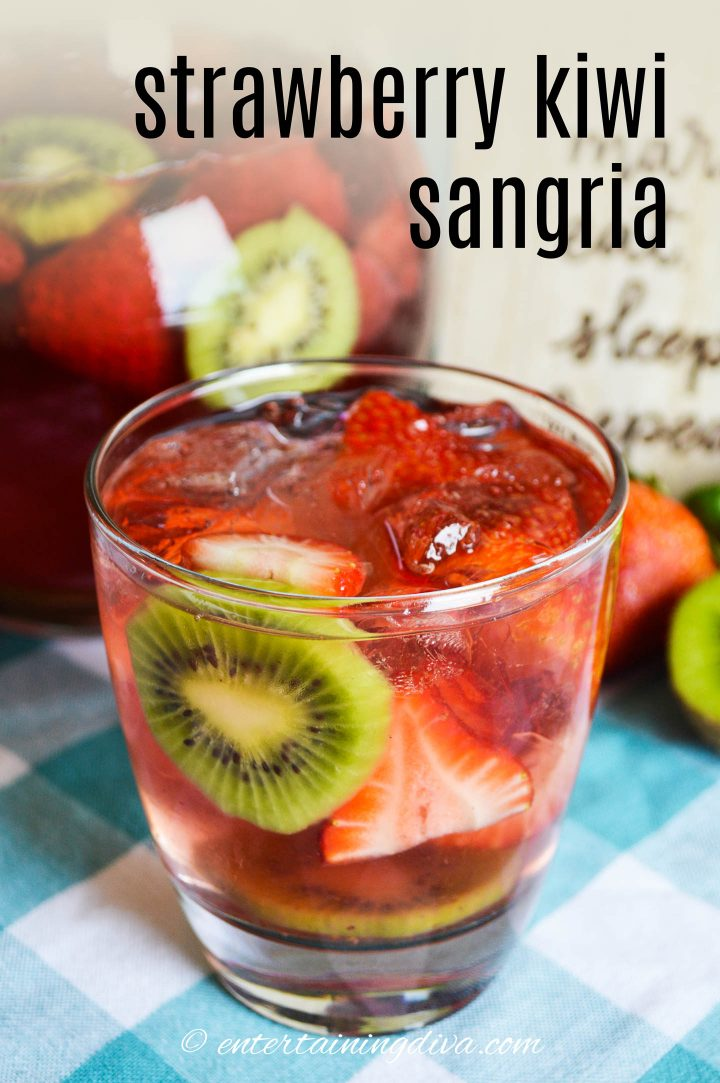 strawberry kiwi sangria in a glass with ice