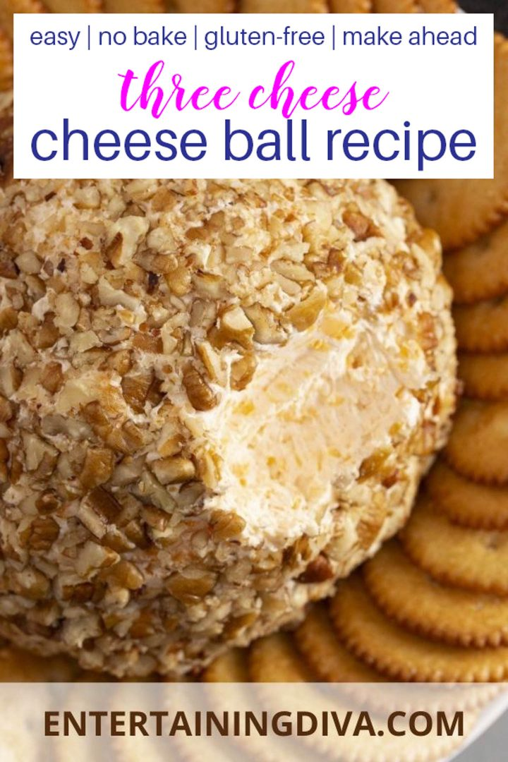 Easy, no-bake, gluten-free, make in advance triple cheese ball with a walnut coating