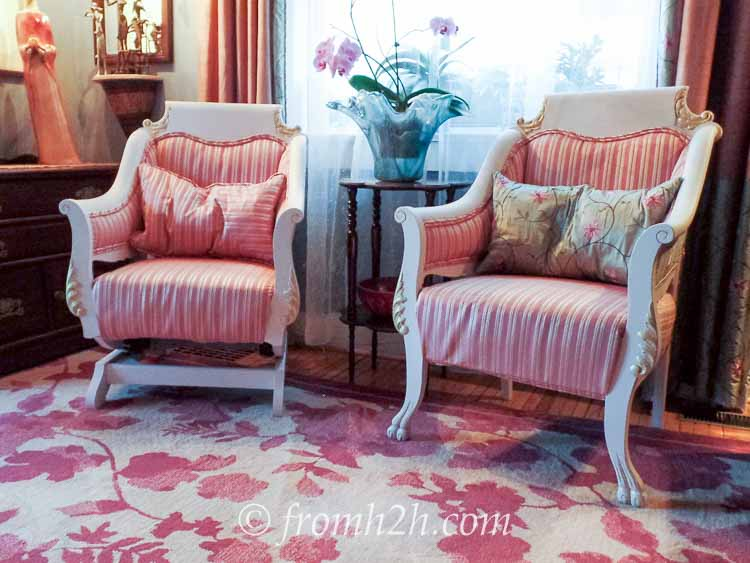 Antique chairs painted in cottage paint make the whole room lighter