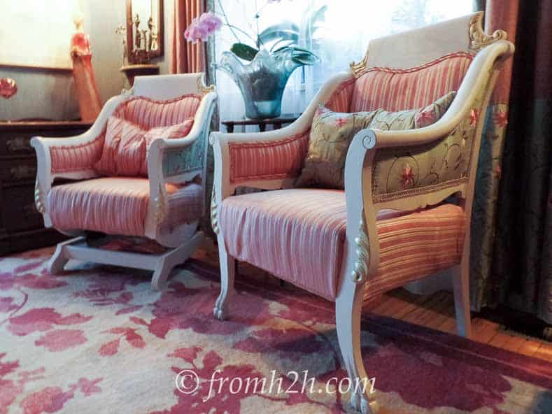 Co-ordinating upholstery fabric on the sides and back add interest