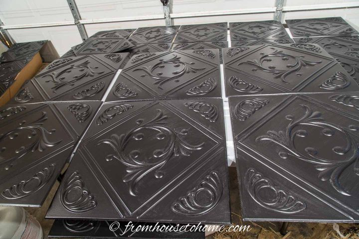 Styrofoam ceiling tiles after being painted black