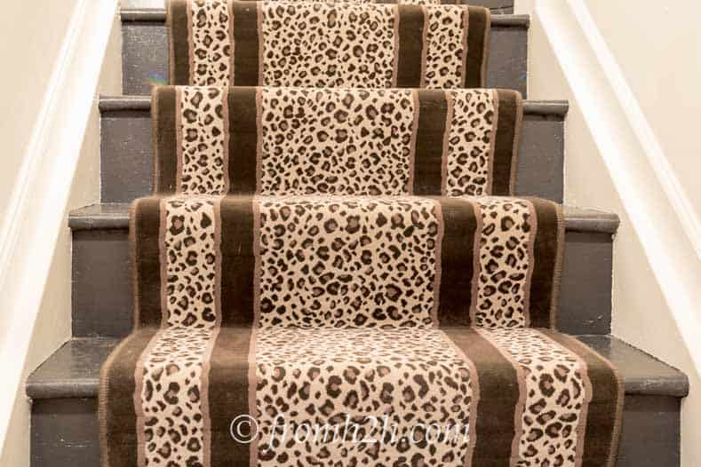 The leopard print carpet on the stairway | One Room Challenge Week 1 - The Plan For a Home Office Makeover