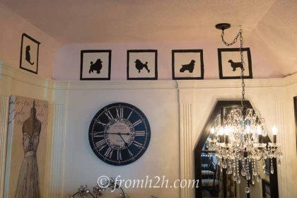 Silhouette dogs painted on the wall