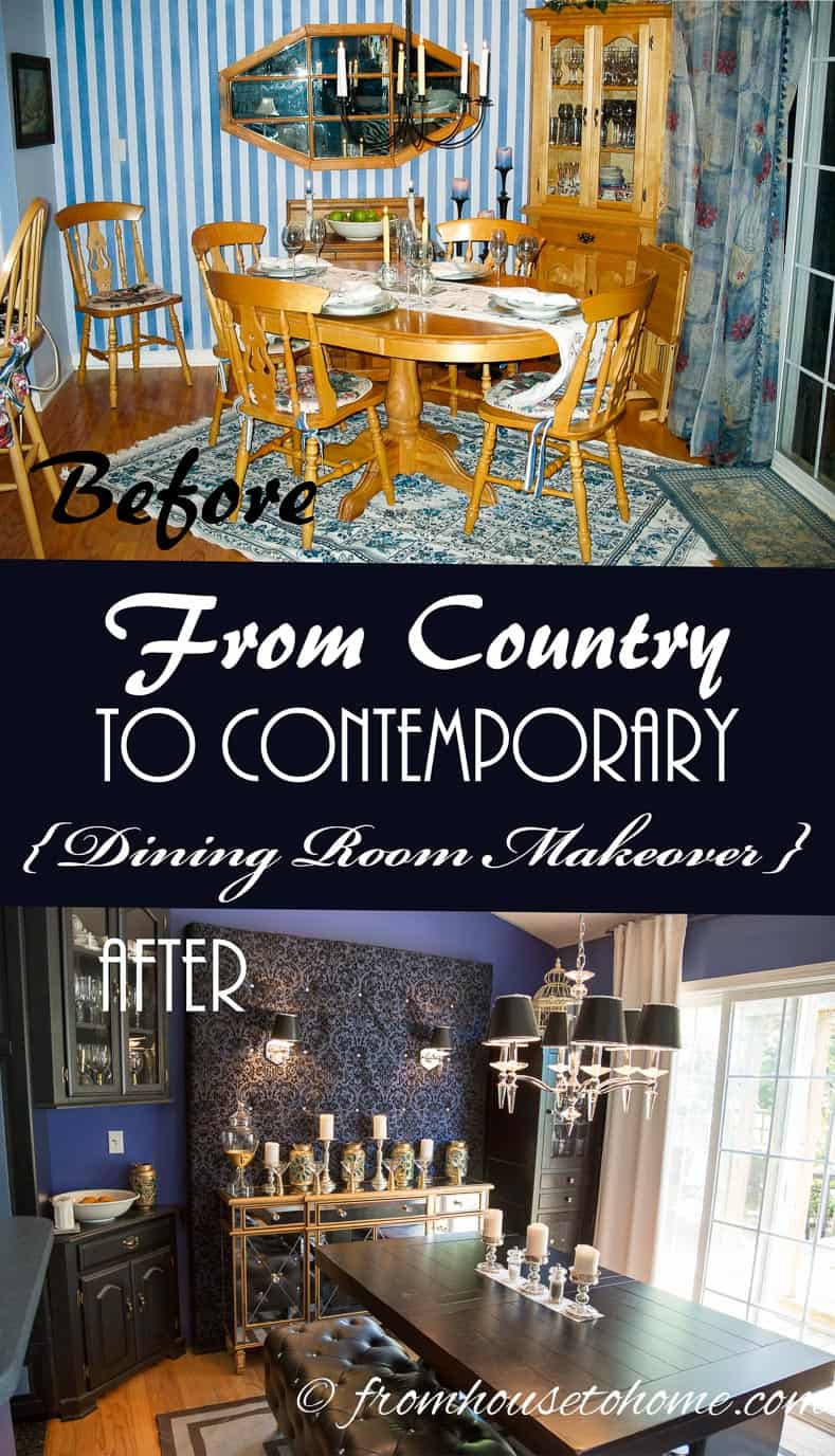 From Country To Contemporary {Dining Room Makeover}   www.fromh2h.com