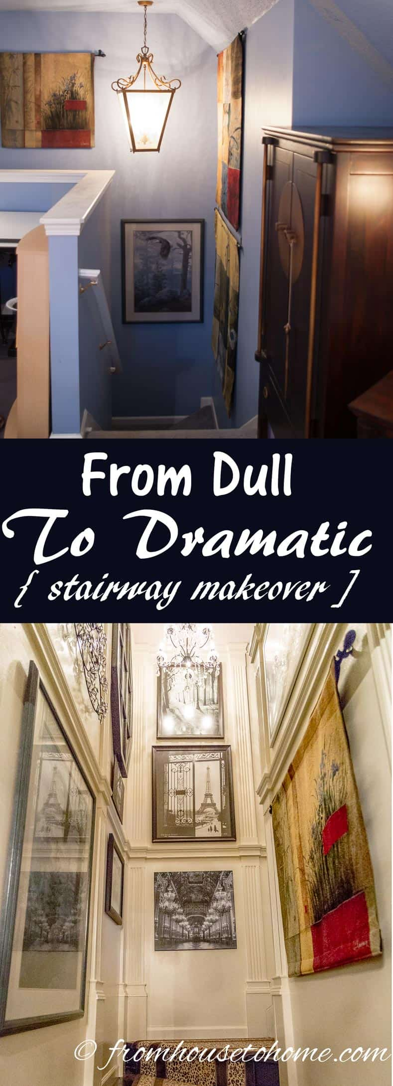 From Dull To Dramatic (A Stairway Makeover) | www.fromh2h.com