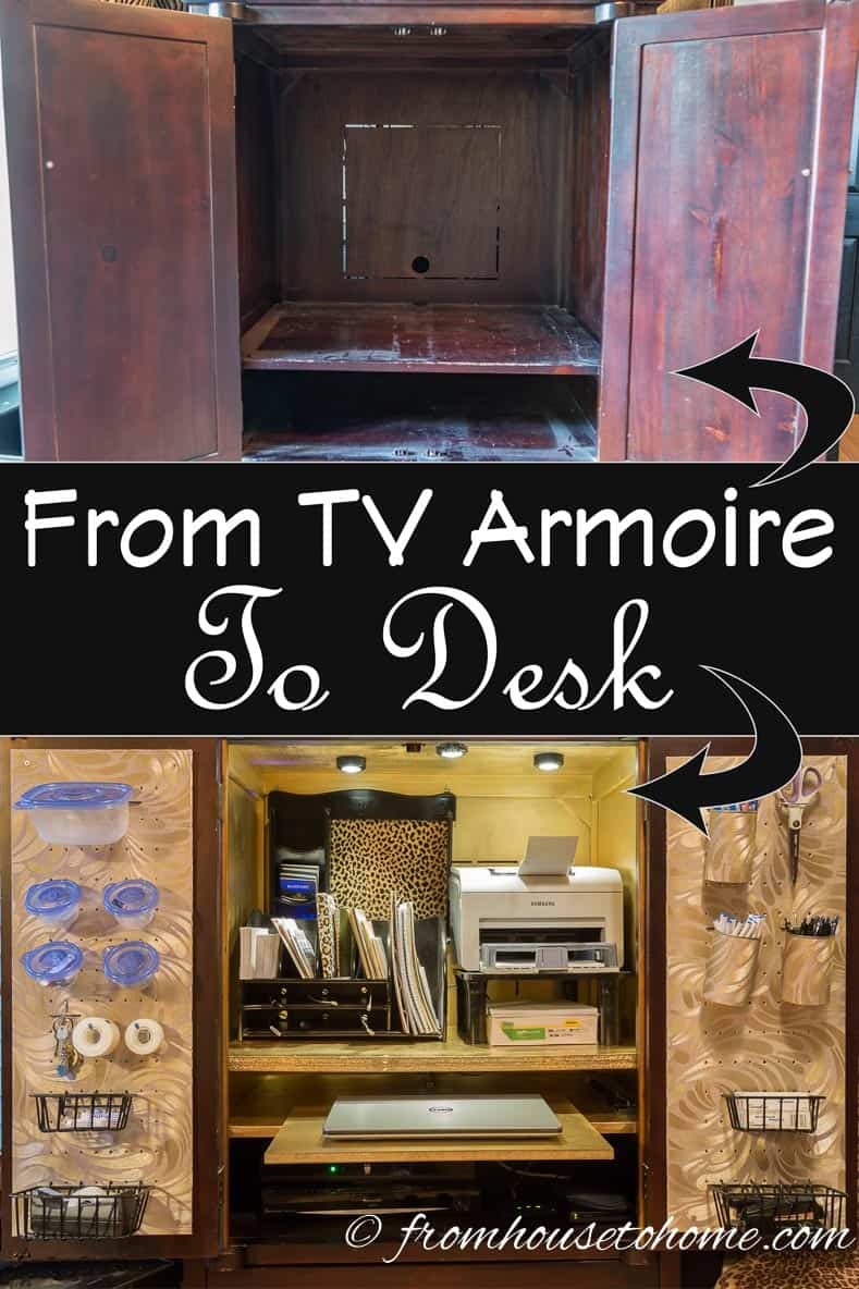 How To Convert A TV Armoire To A Desk | www.fromh2h.com