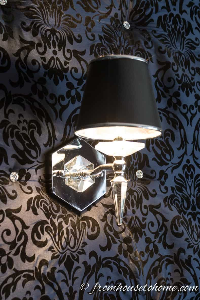 New wall sconces in the dining room