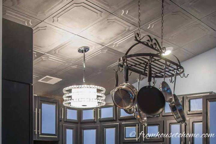 Kitchen with styrofoam faux tin ceiling tiles painted silver