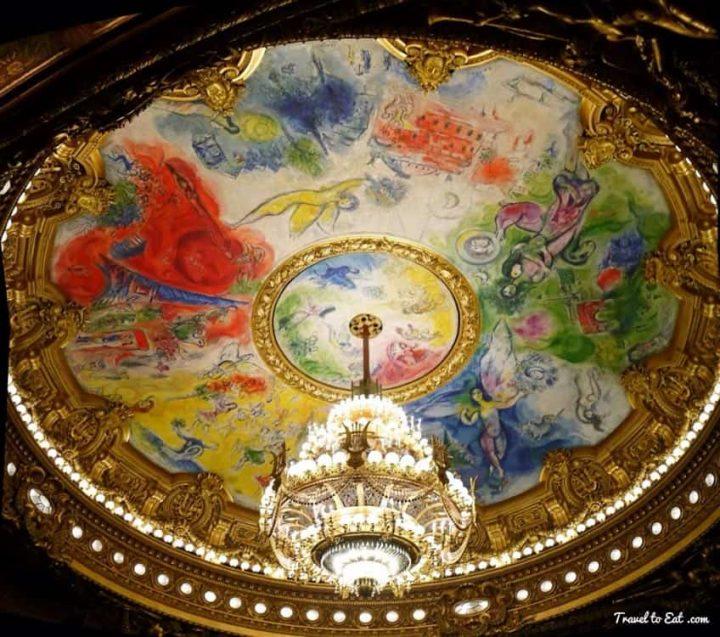 Chagall Ceiling Painting. Palais Garnier. Paris Opera House via traveltoeat.com