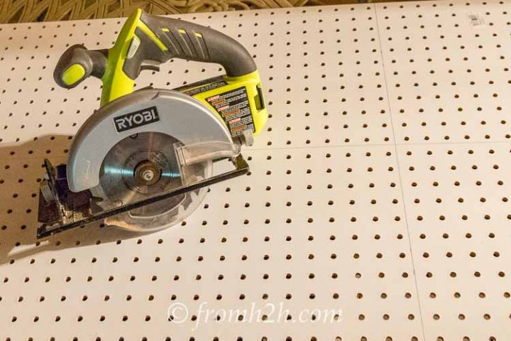 Measure the peg board to size and cut