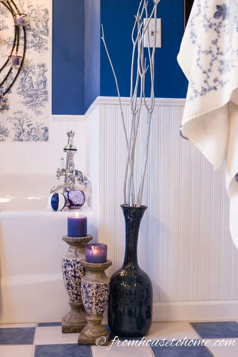Candles and Vases| How to Beautify a Boring Builder Grade Bathroom