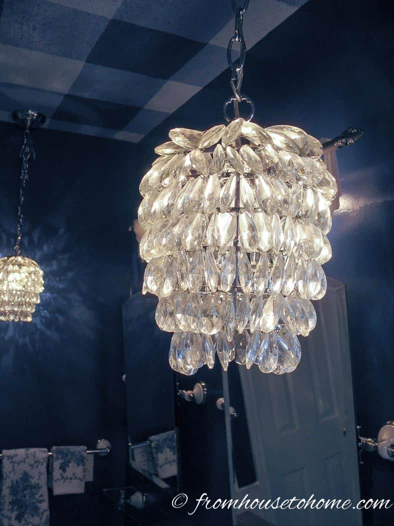 Crystal Light Fixture | How to Beautify a Boring Builder Grade Bathroom