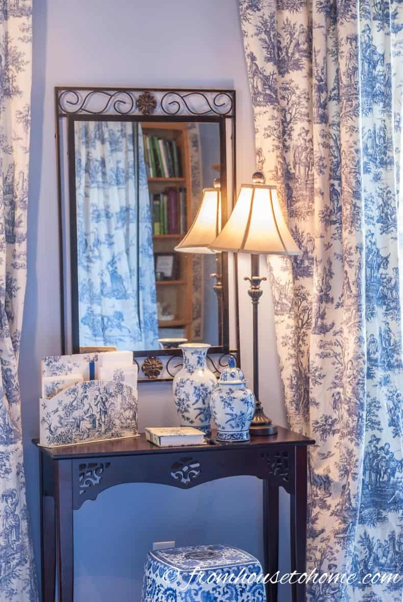Toile Accessories - From Beige to Toile - A Builder Grade Bedroom Makeover | www.fromh2h.com
