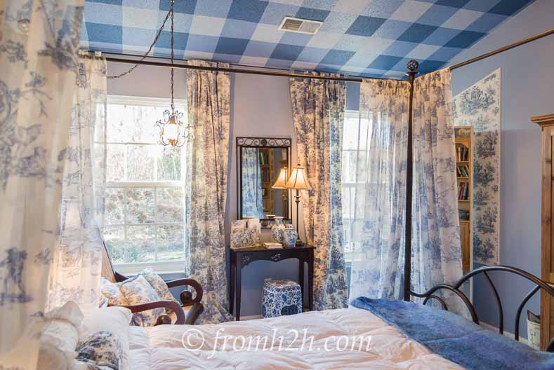Mostly toile master bedroom - From Beige to Toile - A Builder Grade Bedroom Makeover | www.fromh2h.com