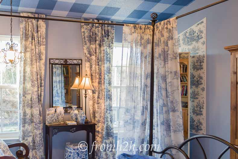 The Finished Room - From Beige to Toile - A Builder Grade Bedroom Makeover | www.fromh2h.com