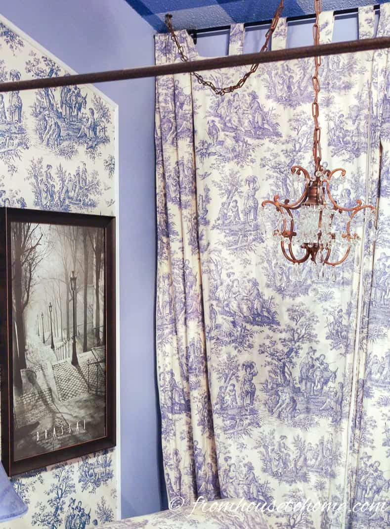 Toile Master Bedroom Curtains - From Beige to Toile - A Builder Grade Bedroom Makeover | www.fromh2h.com