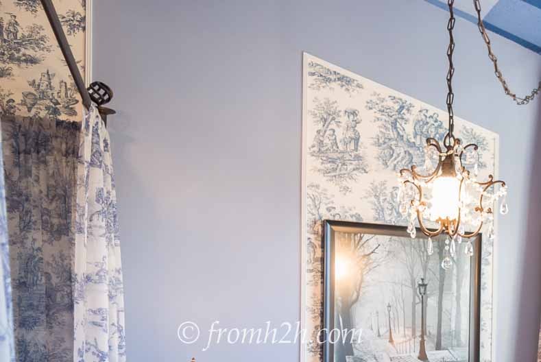 Periwinkle Blue paint - From Beige to Toile - A Builder Grade Bedroom Makeover | www.fromh2h.com