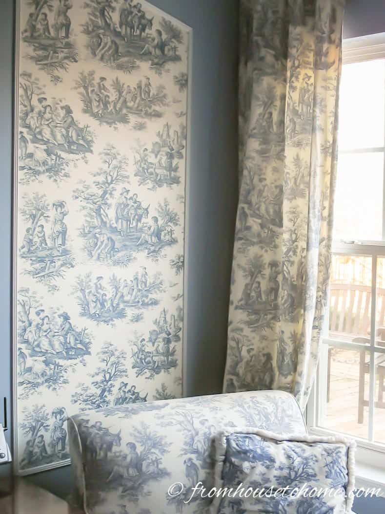 Wallpaper in panels adds a traditional touch - From Beige to Toile - A Builder Grade Bedroom Makeover | www.fromh2h.com