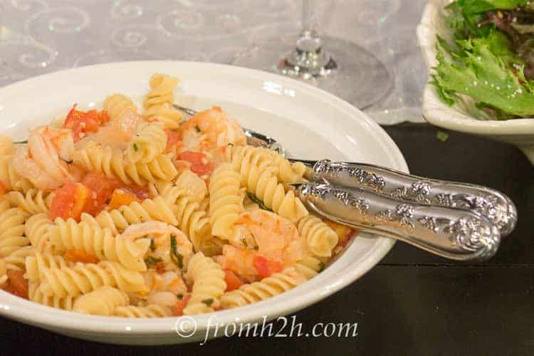 White Wine Lemon Herb Shrimp Rotini | www.fromh2h.com