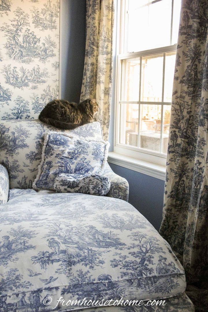 Blue and white toile chaise