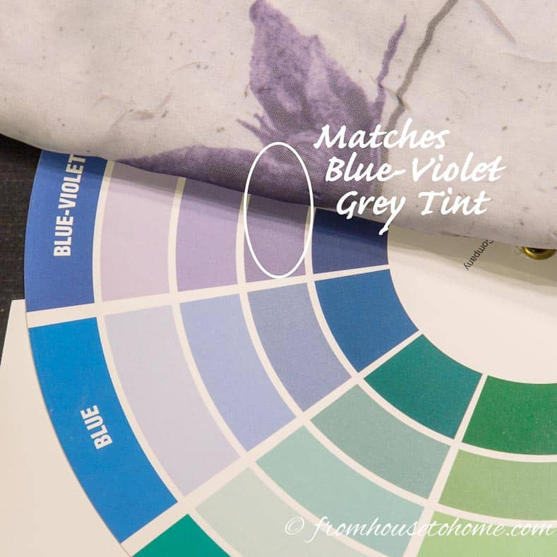 The color of the fabric is pretty close to the Blue-Violet Grey tint on the color wheel