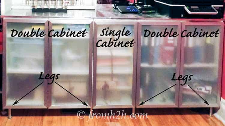 The lower cabinets are made from IKEA kitchen wall cabinets with legs | Build a Glam Wall Unit from IKEA Kitchen Cabinets