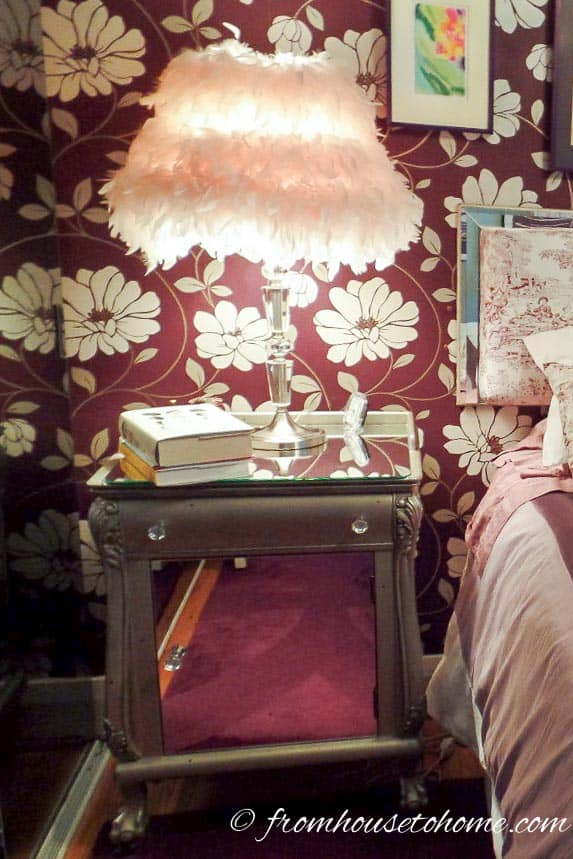 The boa lampshade was a little dated | From Eclectic To Serene Bedroom Makeover