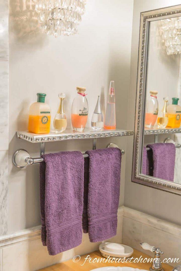 The finished DIY bathroom wall shelf