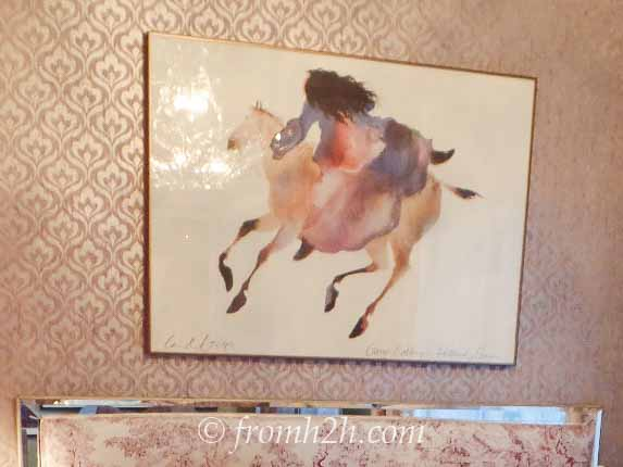 The new painting | From Eclectic To Serene Bedroom Makeover