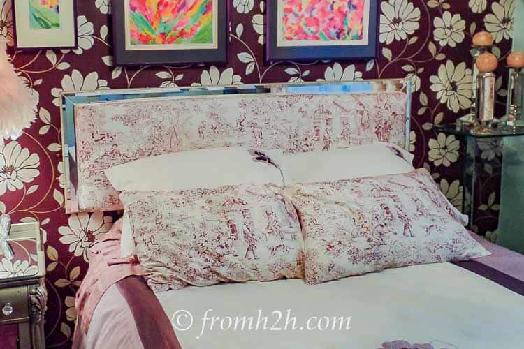 The original pillows were too much pattern | From Eclectic To Serene Bedroom Makeover