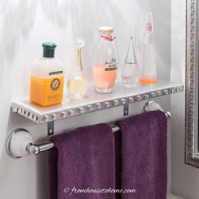 Glam DIY bathroom wall shelf