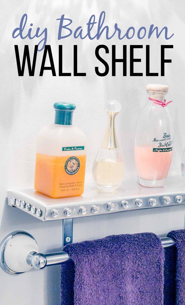 DIY bathroom wall shelf with perfume bottles