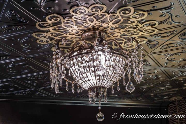 Lace DIY Ceiling Medallion installed