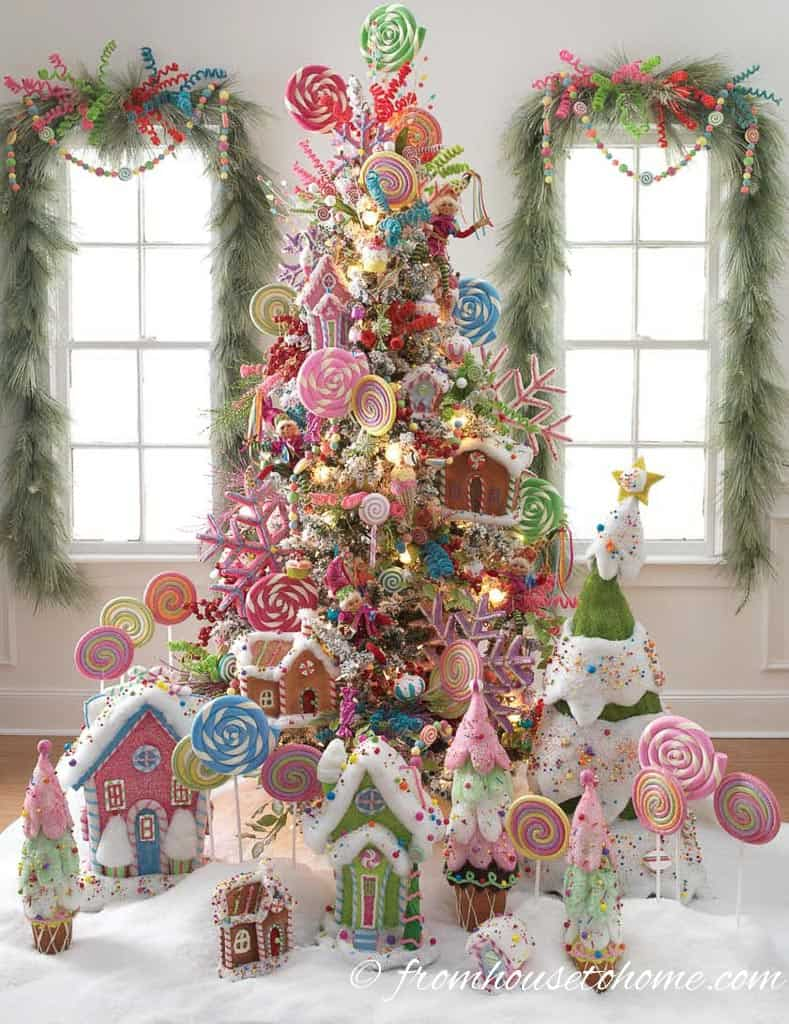 Candyland Christmas Tree by razchristmas.blogspot.com | 10 Creative Christmas Tree Themes To Get Inspired By