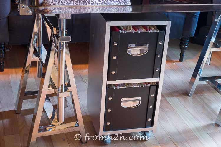 Casters make the filing cabinet really easy to move | DIY Glam Industrial Filing Cabinet