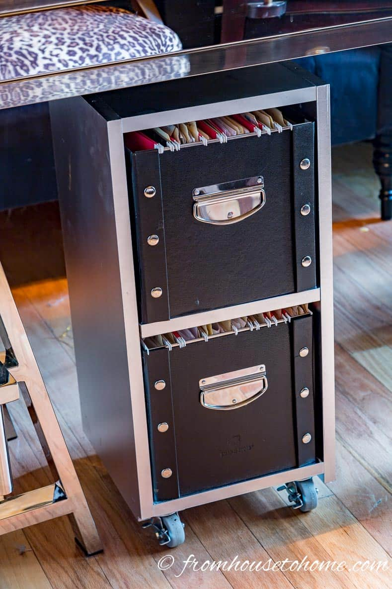 My new filing cabinet under the desk | DIY Glam Industrial Filing Cabinet