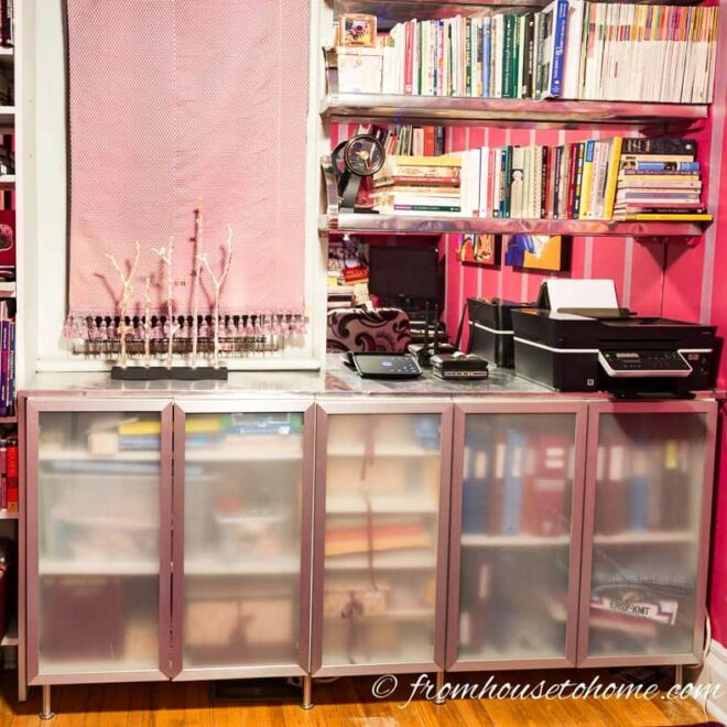IKEA Cabinet Wall Unit With Frosted Glass Doors and Aluminum Flashing Countertop