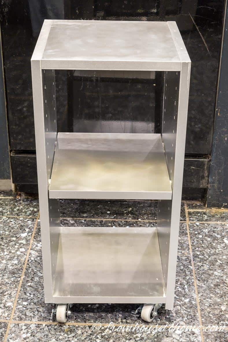 Painted shelf with wheels | DIY Glam Industrial Filing Cabinet
