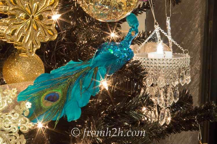 These peacock ornaments are the finishing touch | How To Decorate a Beautiful Christmas Tree