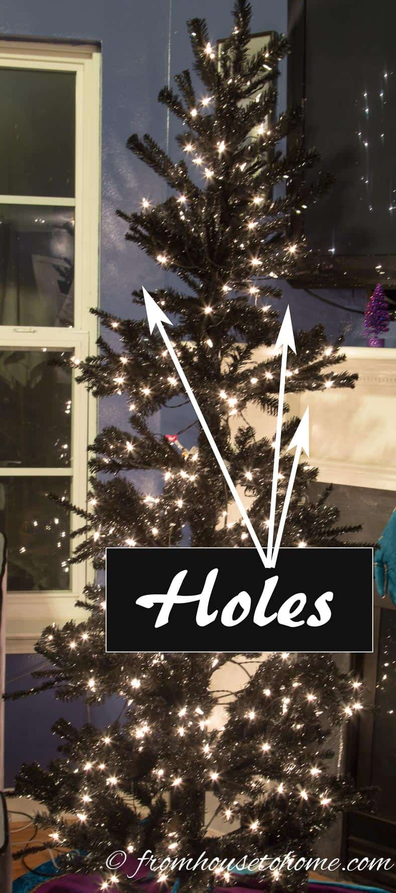 "The tree before ""fluffing"" has some big ""holes"" 