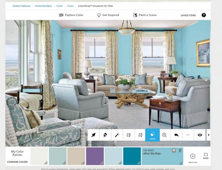 A color app shows a living room with teal paint