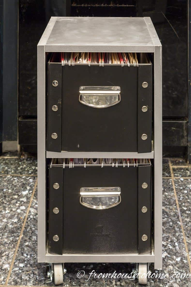 Shelves with file boxes | DIY Glam Industrial Filing Cabinet