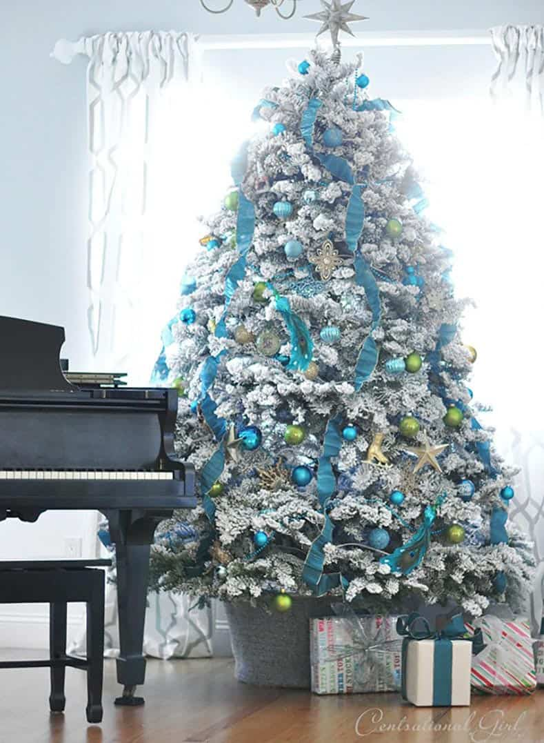 Teal and Green tree from centsationalgirl.com | Christmas tree decorating ideas that will inspire you